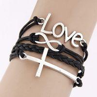 外贸原单手链 十字架之救赎的爱手链 无限符号组合多层手链RR110