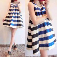 2015夏季新款韩版女装条纹无袖连衣裙大码蓬蓬裙高腰娃娃衫背心裙