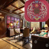山盛新中式绣花皮革面料软硬包移门沙发抱枕座椅人造革手工DIY