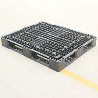 供应出口出货专用塑料托盘 1210黑色网格田字型 一次性使用价格便宜
