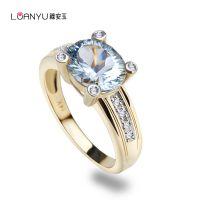 14K玫瑰金镶嵌天然巴西海蓝女款戒指2.42克拉南非真钻镶嵌海蓝宝