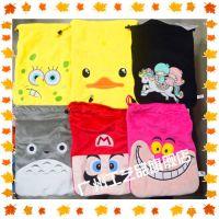 怪兽大学龙猫小黄人芝麻街加菲猫史迪仔毛绒毛绒束口袋卡通棉布