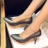 外贸2015春季时尚尖头真皮女鞋新款优雅百搭浅口高端气质细高跟鞋