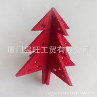 厂家直销 毛毡布圣诞挂件 圣诞装饰品 立体圣诞树吊饰 激光雕刻