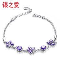 925银宽手链紫蝴蝶女款创意挂件装饰时尚手饰可刻字送女友礼物