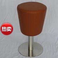 厂家供应不旋转圆形红色皮革软包不锈钢底盘餐厅吧凳 休闲圆凳椅