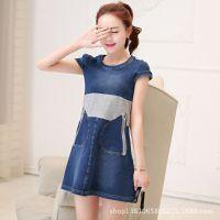 2015夏装新款韩版宽松牛仔拼接连衣裙时尚短袖中长款T恤女打底衫
