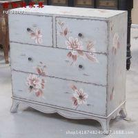 富仕侯家具 外贸美式乡村复古做旧手绘卧室斗柜 储物收纳柜子批发