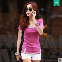 韩国官网同款2015夏装新款日韩女装大码修身显瘦拼接圆领短袖T恤