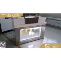 苹果木纹收银台款式 创意收银台厂家专业设计