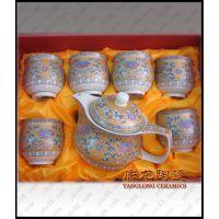 景德镇陶瓷茶具,颜色釉陶瓷茶具,6头茶具,陶瓷功夫茶具