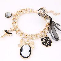 欧美韩版合金时尚玫瑰花美人贵妇挂件时尚手链手镯手饰首饰饰品
