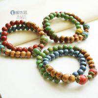高端文艺窑变瓷珠手串 42颗佛珠 复古风双层念珠 手制陶瓷饰品