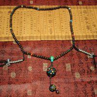(善慈珠宝)天然印度牦牛骨念珠配绿松石搭配景泰蓝吊坠毛衣链坠