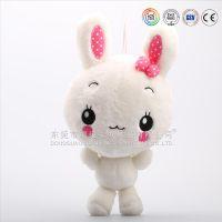 东莞实力商家专业定做外贸白色短毛绒毛绒15cm兔子娃娃