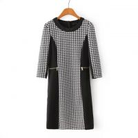 XIAO.L--ET 欧美春季新款时尚千鸟格拼接七分袖修身连衣裙