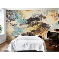 景灿大型3D厂家直销整张手绘欧式抽象树影壁纸 东南亚风格无纺布壁画 客厅卧室电视沙发背景墙纸