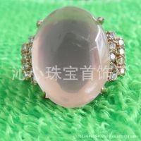 珠宝首饰厂家批发 电玫瑰金 镶粉晶 宝石 锆石戒指