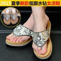 2015夏季新款欧美时尚人字拖平底透气女凉鞋水钻夹趾拖鞋