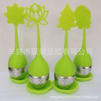 硅胶泡茶器 果冻色不锈钢茶漏 硅胶茶叶过滤器