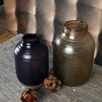 厂家直销 深刻年代手工吹制横纹刻磨欧式彩色玻璃花瓶7072305014.
