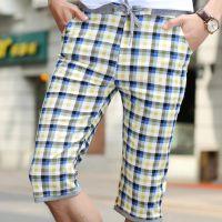 2015夏季男装裤子新款五分休闲裤中裤男式时尚休格子裤厂家直销