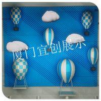 橱窗展示玻璃钢气球美陈陈列道具制作厂家 节日气氛装饰气球 婚庆气球布置 酒吧气球装饰
