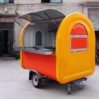 上海定做牵引型小吃车 拖挂美食车 大轮子早餐售货 厂家直销兢坤品牌直供