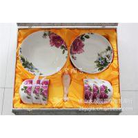 礼品陶瓷餐具套装 19头釉上 家用陶瓷餐具 纯骨瓷釉上彩盘碗勺