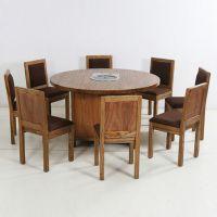 强烈推荐 地中海风格电磁炉桌子 创意高档防火板实木火锅桌