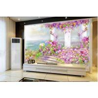 佛山彩虹石品牌 客厅卧室背景墙 欧式效果 石材定制 仿古砖背景墙