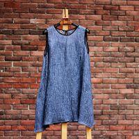 原创文艺棉麻连衣裙(两件套)松身天然亚麻皱裙
