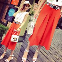 小银子2015夏装新款撞色腰带好品质垂坠感显瘦七分阔腿裤K5322