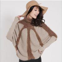 2015春冬新款欧美女式针织衫 羊毛披肩几何高领蝙蝠袖套头毛衣