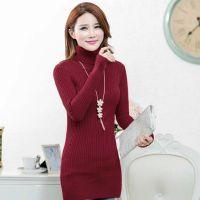2014秋冬装新款女式针织衫 韩版麻花修身中长款高领打底衫女毛衣