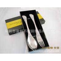 供应高档餐具礼品 (盛世经典)光柄勺叉二件套 不锈钢鱼尾勺叉