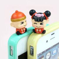 热销 手机创意饰品可爱新娘新郎手机挂件 PVC手机防尘塞配件