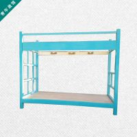 供应学生双层床公寓青年旅馆床上下铺大人实木床特价1.2米蓝色床