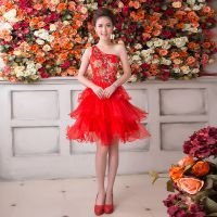 2015新款 韩版单肩时尚伴娘团姐妹裙 孕妇结婚敬酒服演出服 短款