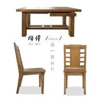 榕华家居韩式榆木餐桌椅一桌六椅一桌四椅实木餐厅家具组合