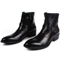 外贸短靴高帮皮鞋时尚男鞋韩版皮靴工作靴真皮鞋男头层牛皮工作鞋
