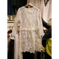 2015春装新款 韩版超美内搭蕾丝透明长款长袖连衣长裙 甜美打底裙