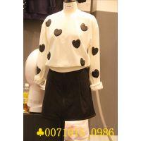 2014秋装新款韩国代购东大门女装正品批发女式心形圆领白色打底衫