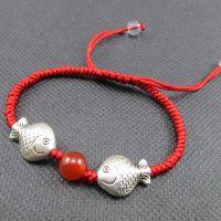 原创纯手工编制红绳手链 男女士双鱼手串 天然红玛瑙 本命年备