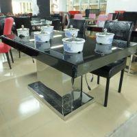 餐桌椅组合 简约现代烤漆长方形餐台 钢化玻璃小户型折叠火锅桌