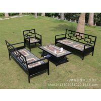 美式loft阳台咖啡桌椅卧室沙发茶几布艺休闲藤椅子户外三件套组合