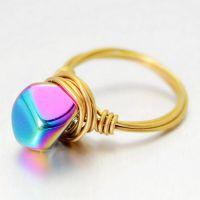 欧美外贸eBay 速卖通 不规则 手工绕线水晶戒指 手工饰品 戒指