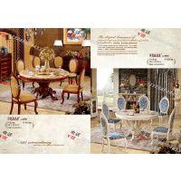 供应凯恩莱斯 天然大理石欧美风格家具实木圆桌椅