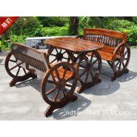炭化防腐木花园/休闲咖啡餐厅桌椅/酒吧桌椅/双人四人车轮餐桌椅