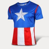 厂家直销 速干T恤 美国队长蓝白 男短袖 户外运动透气排汗衫上衣